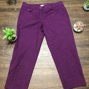 Purple skinny cropped Loft slacks